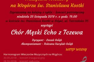 plakat koncert patriotyczny 300x200 Muzyczne Wieczory na Wzgórzu św. Stanisława Kostki  koncert patriotyczny 25 listopada 2018 r.